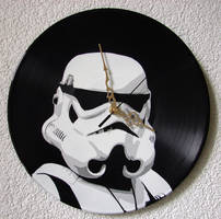 Stormtrooper stencil on vinyl clock by vantidus