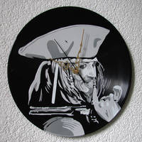 Captain Jack Sparrow stencil on vinyl clock by vantidus