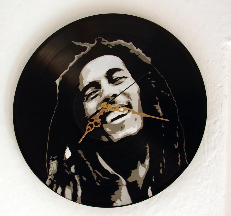 Bob Marley stencil on vinyl clock by vantidus