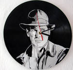Indiana Jones on vinyl record clock