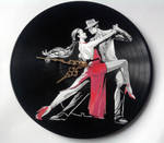 Dancing couple on vinyl record