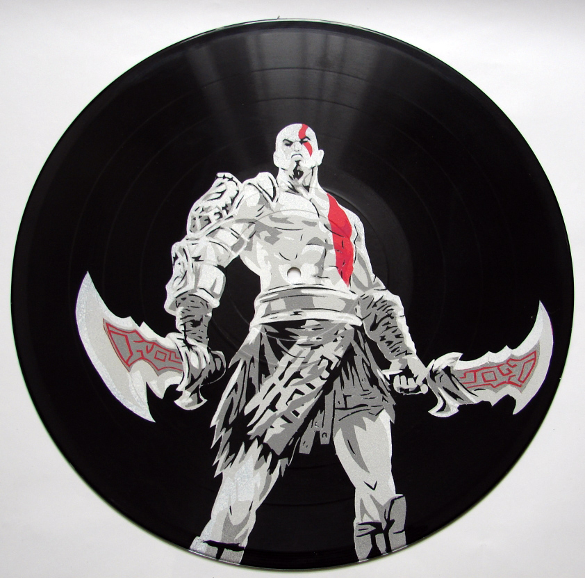 God of War stencil on vinyl record by vantidus