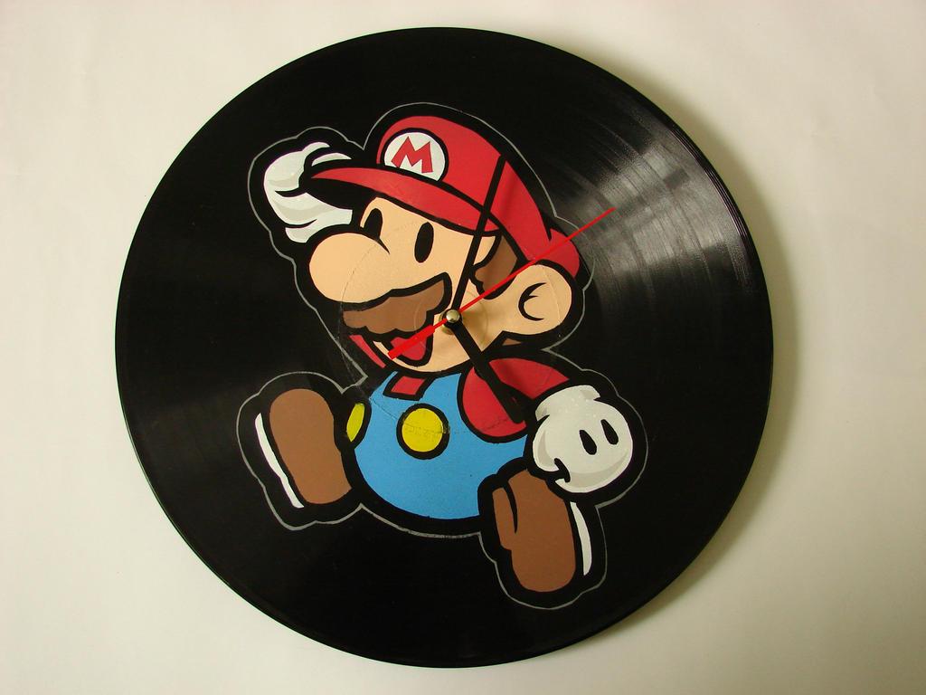 Mario vinyl record clock by vantidus