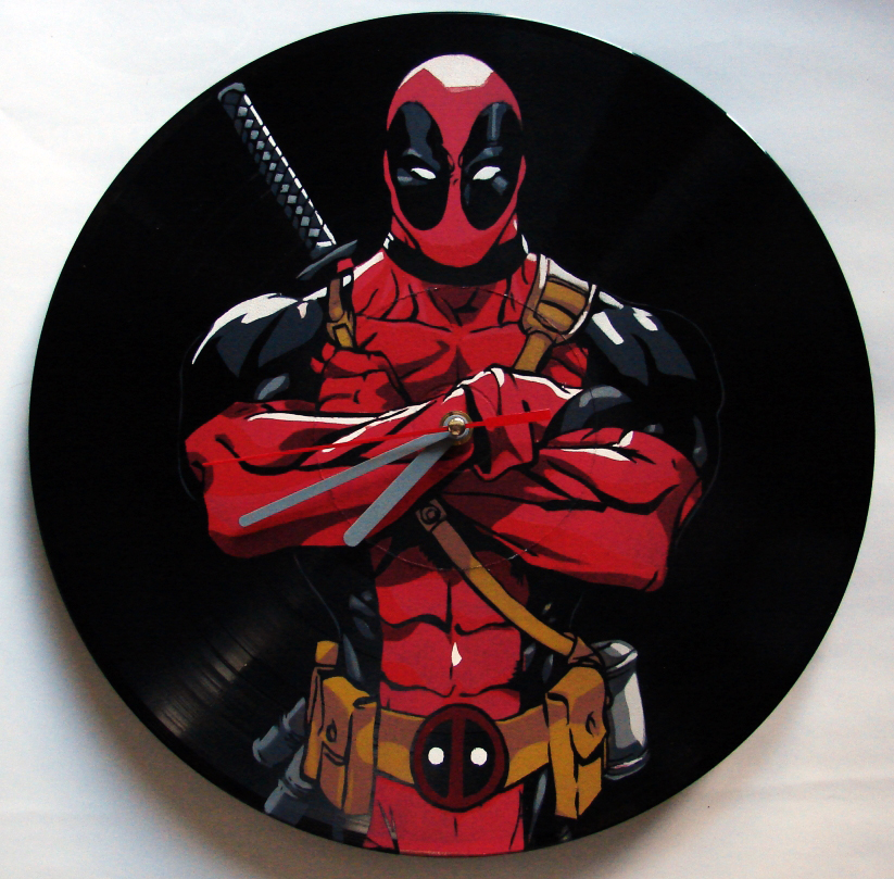 Deadpool on vinyl record clock by vantidus