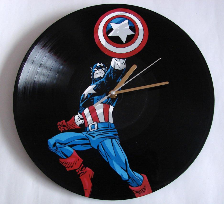 Captain America vinyl record clock by vantidus
