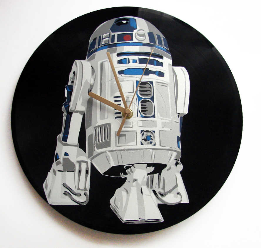 R2-D2 vinyl record clock Star Wars by vantidus
