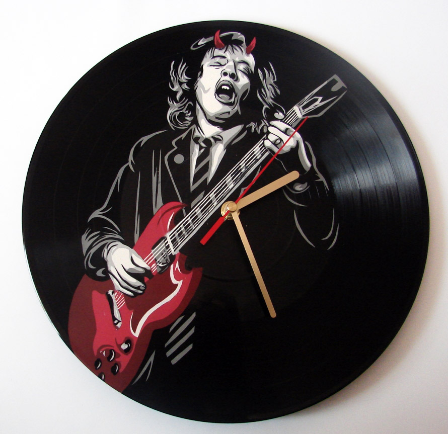 Ac Dc Art : Ac dc angus young painted on vinyl record clock by