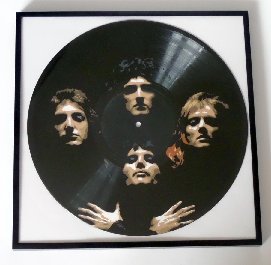 Queen painted on vinyl record by vantidus