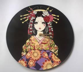 Japanese anime style geisha painted on vinyl by vantidus