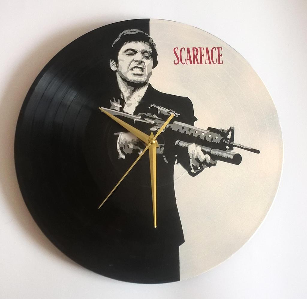 Scarface Tony Montana painted on vinyl record by vantidus