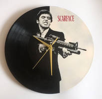 Scarface Tony Montana painted on vinyl record by vantidus