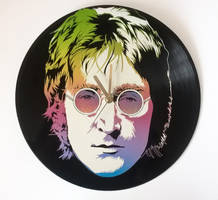 John Lennon painted on vinyl record by vantidus