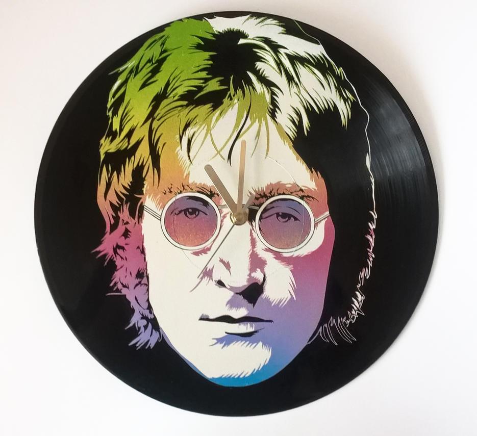 John Lennon painted on vinyl record by vantidus