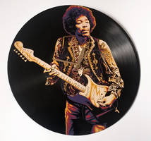 Jimi Hendrix painted on vinyl record by vantidus