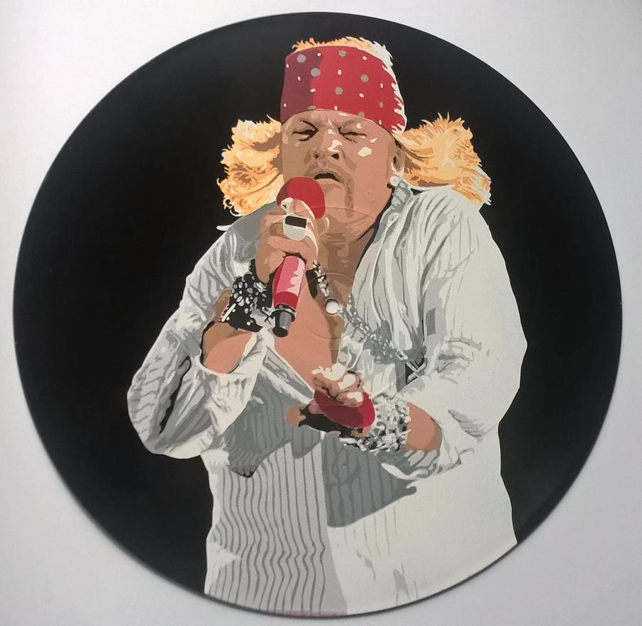 Axl Rose painted on vinyl record by vantidus