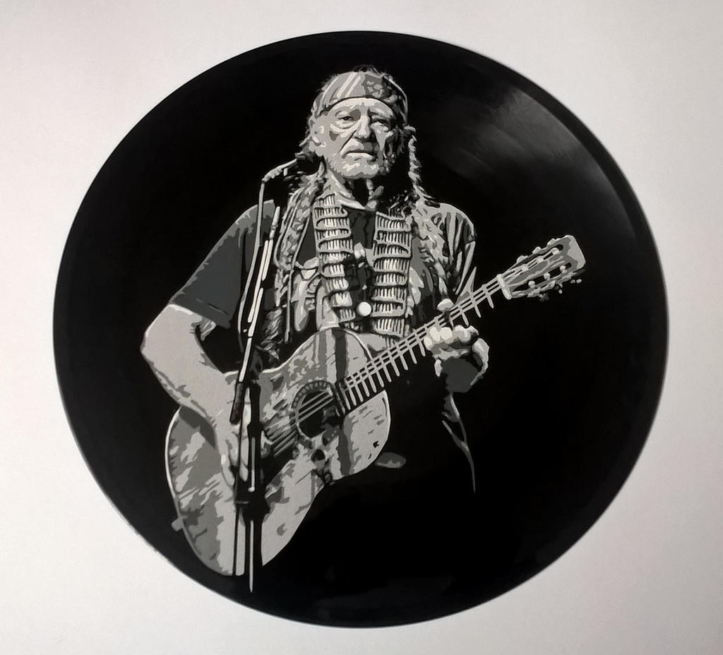Willie Nelson paintedod vinyl record by vantidus
