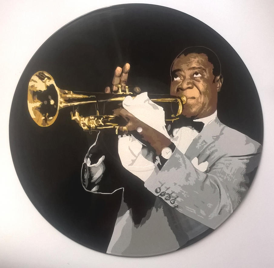 Louis Armstrong on vinyl record by vantidus