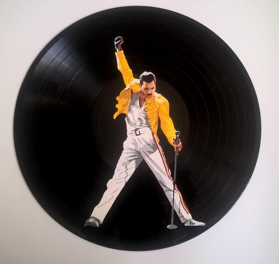 Freddie Mercury painted on vinyl record by vantidus