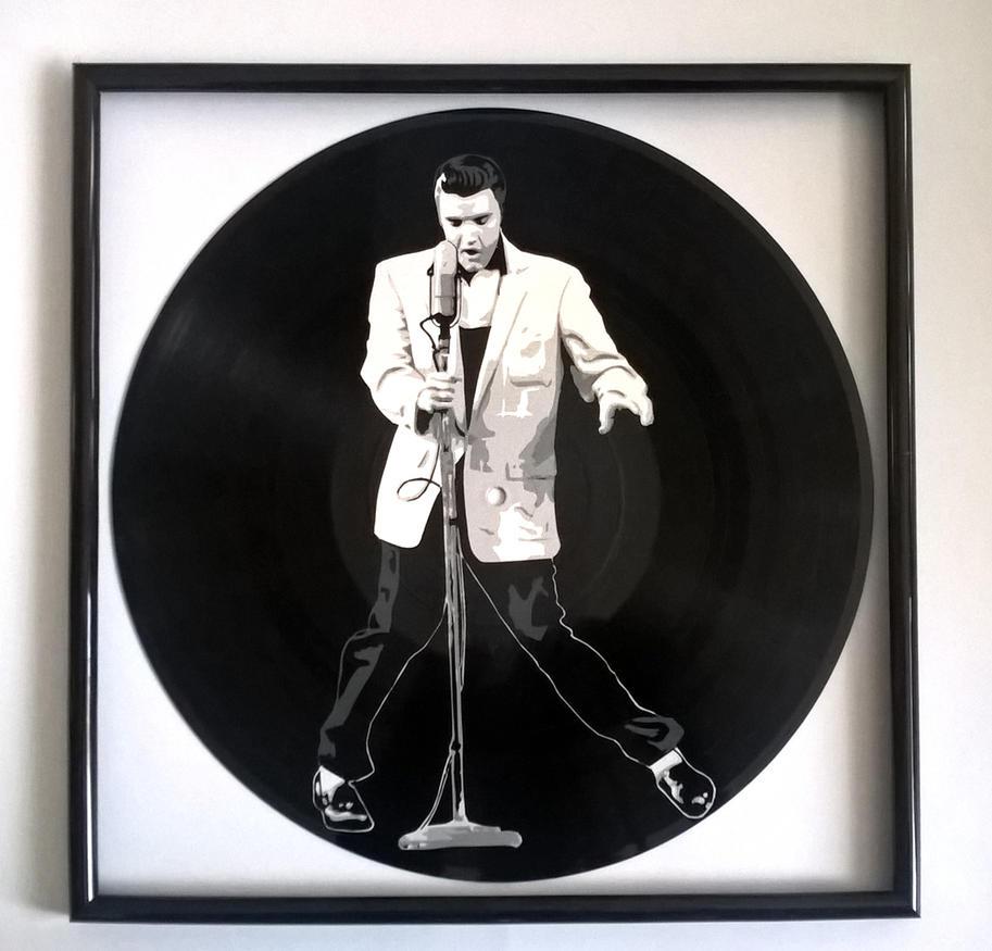 Elvis Presley painted on vinyl record by vantidus
