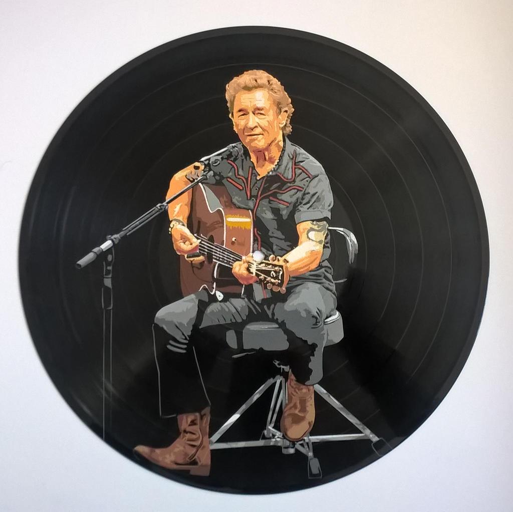 Peter Maffay painted on vinyl record by vantidus