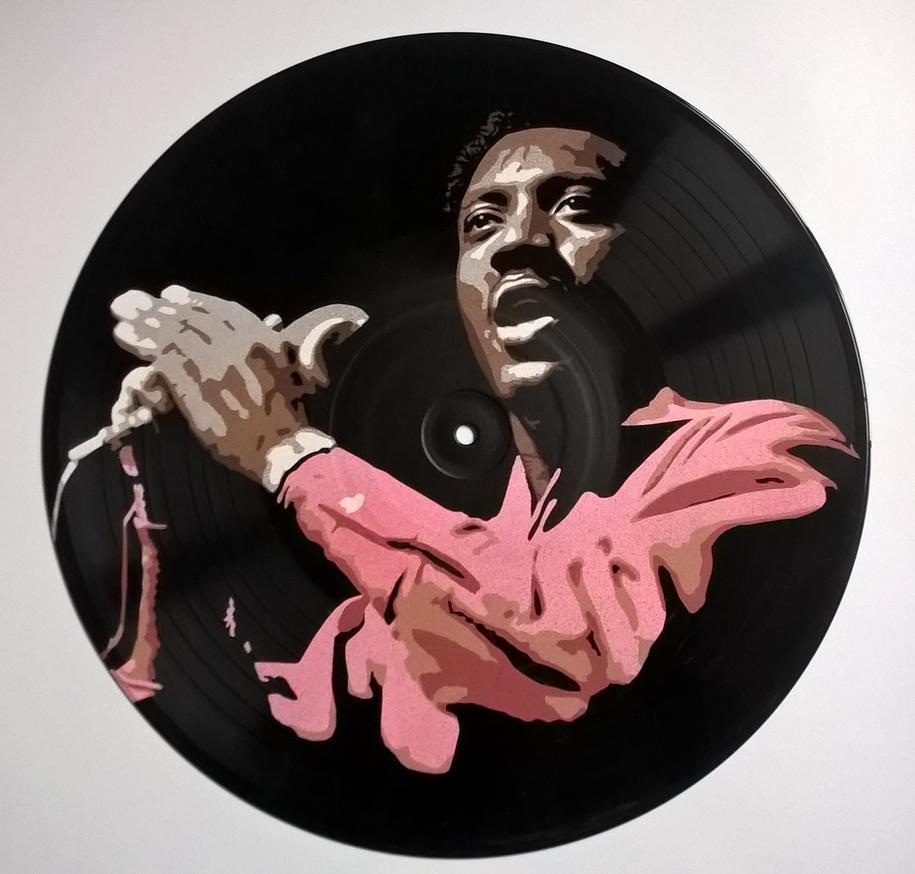Otis Redding painted on vinyl record by vantidus