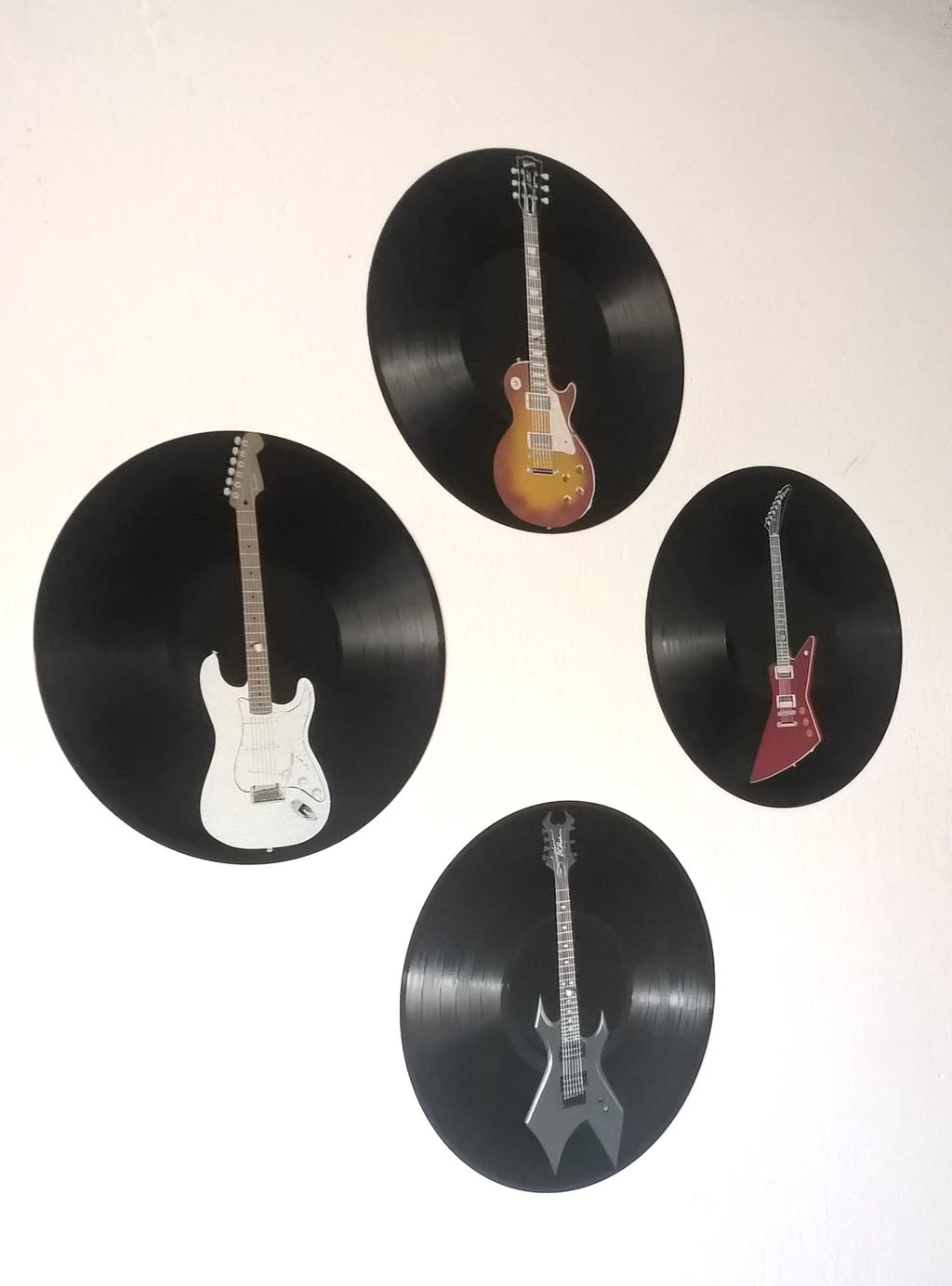 Electric Guitars painted on vinyl records by vantidus