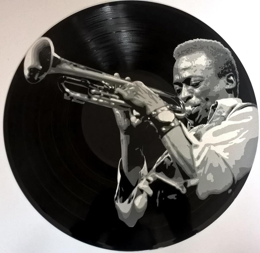 Miles Davis painted on vinyl record by vantidus
