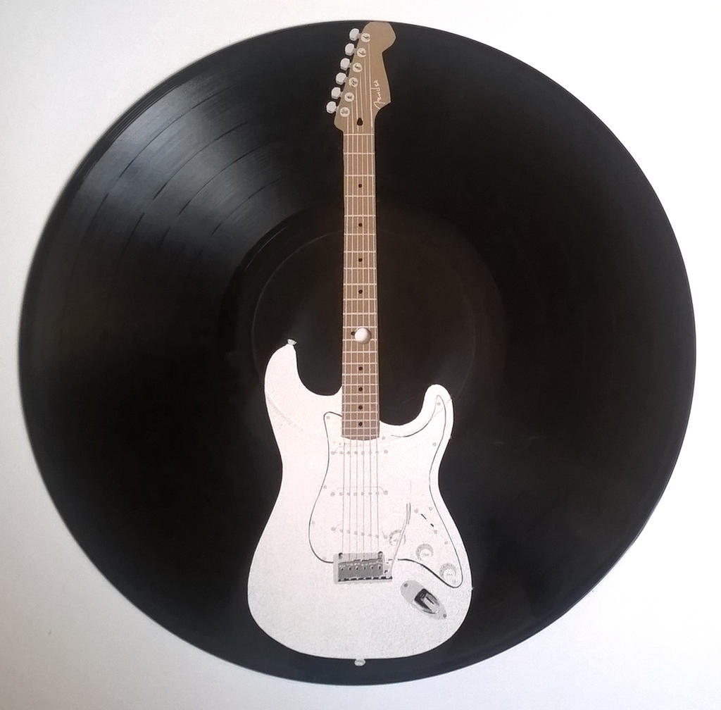 Electric guitar painted on vinyl record by vantidus