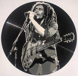 Bob Marley painted on vinyl record by vantidus