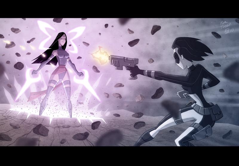 Domino Vs Psylocke by OtisFrampton