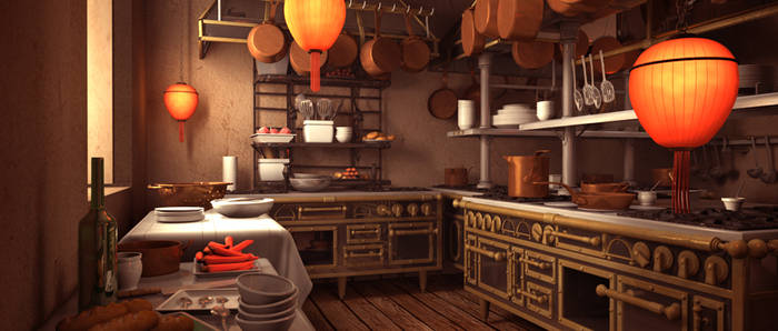Gusteau's Kitchen with red lanterns