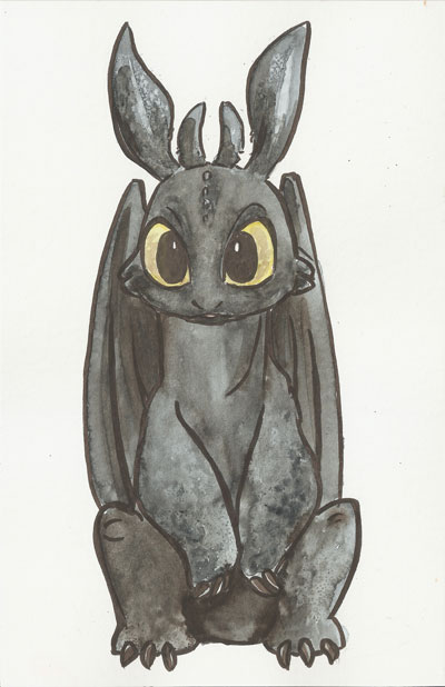Toothless watercolor by AmberStoneArt