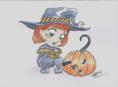 Halloween Academy card Chloe and Tupper by AmberStoneArt