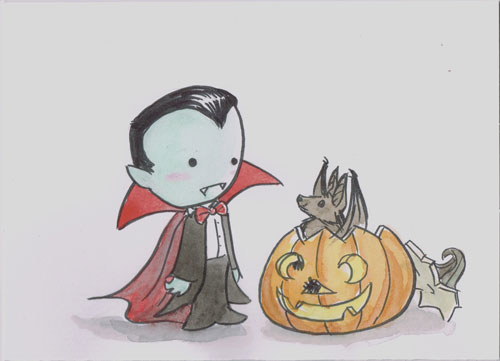 Vampire and Bat by AmberStoneArt