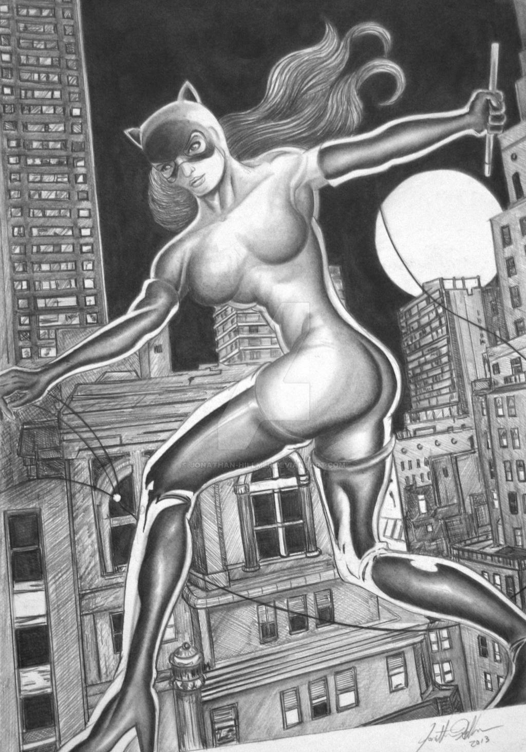 Classic Catwoman with full background - Commission by jonathan-hillmer