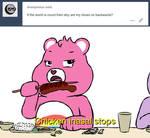 Cheer Bear eating Filipino food