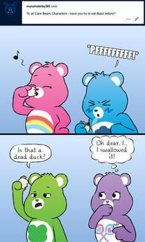 Care Bears eating balut