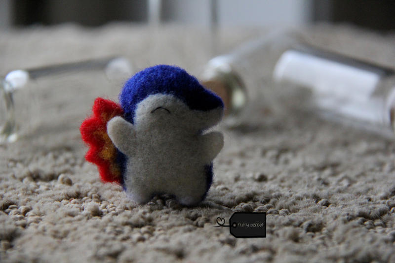 needlefelted Cyndaquil 2 by FluffyParcel