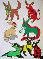 Fake Eeveelutions I by Punkkis-chan