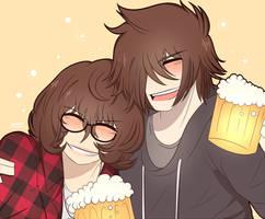 Cheers! drunk cousins - Ken and Tamiko by Akumarou