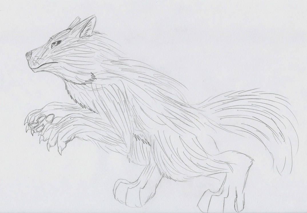 Dog man (cryptid/superstitious character) by Fushigi-Okami