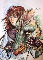 A girl and her dragon by mikadove