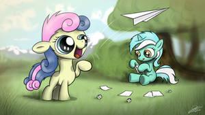 Lyra and Bon Bon flying paper airplanes