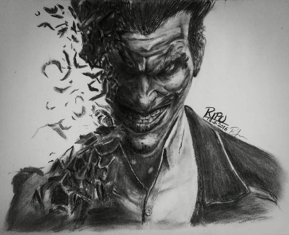 Joker charcoal pencil work by damangogna on deviantart