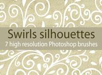 Swirls silhouettes brushes