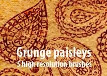 Grunge paisleys by brushesstock