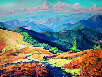 Mountain valley by Gudzart