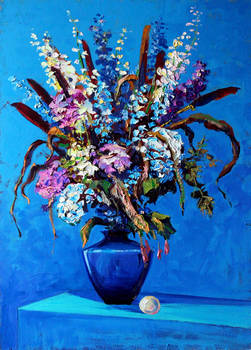 Bouquet on a blue background