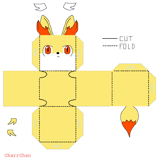 Fennekin Template Papercraft By CharrChan