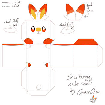 Scorbunny Pokemon Paper Craft Cube